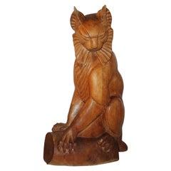 Hard Carved Cat Sculpture