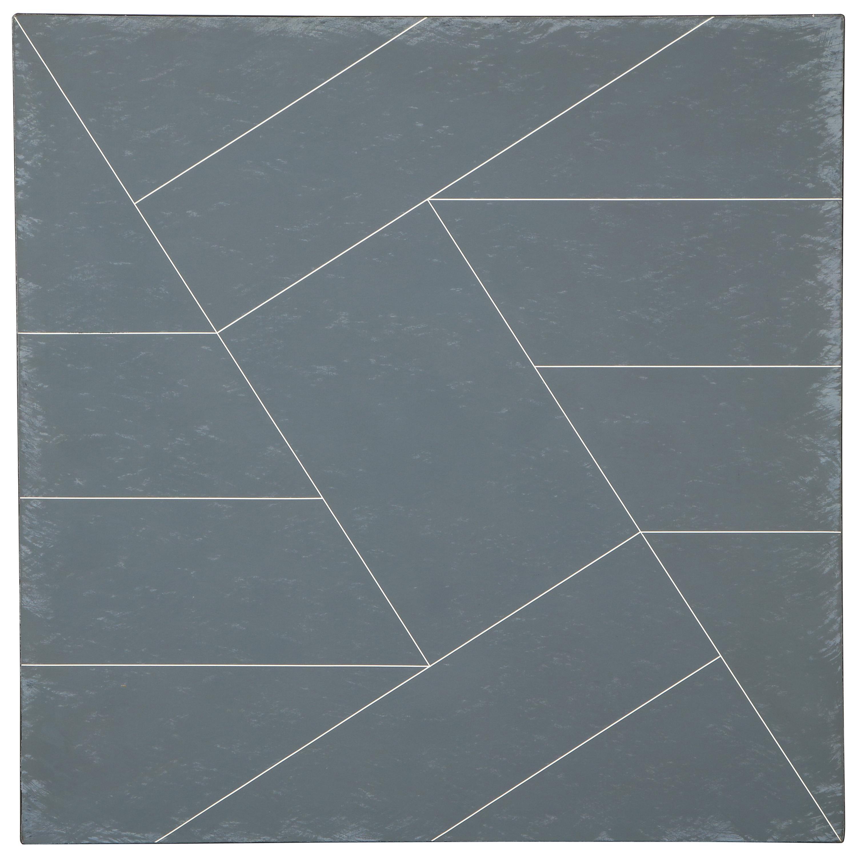 "Hard Edge Painting in Black & White ""Diagonals"" by Duayne Hatchett, USA 1975"