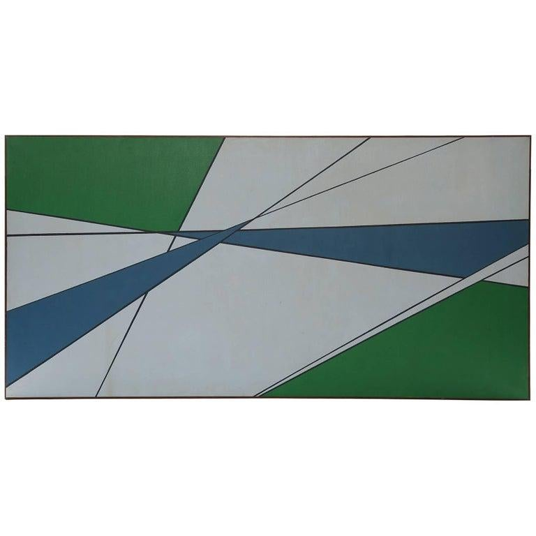 American Hard Edge Painting in Green & Blue by Rice For Sale