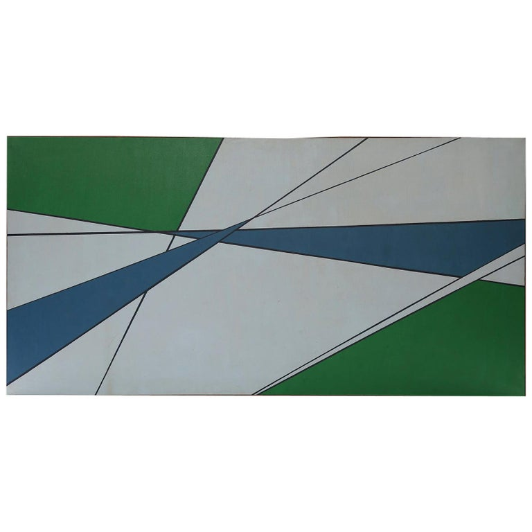 Hard Edge Painting in Green & Blue by Rice For Sale