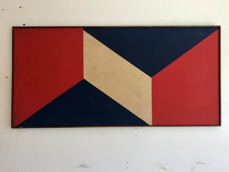 Painted Hard-Edge Screen Print Painting on Canvas, 20th Century For Sale