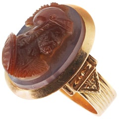 Hard Stone Cameo Gold Ring