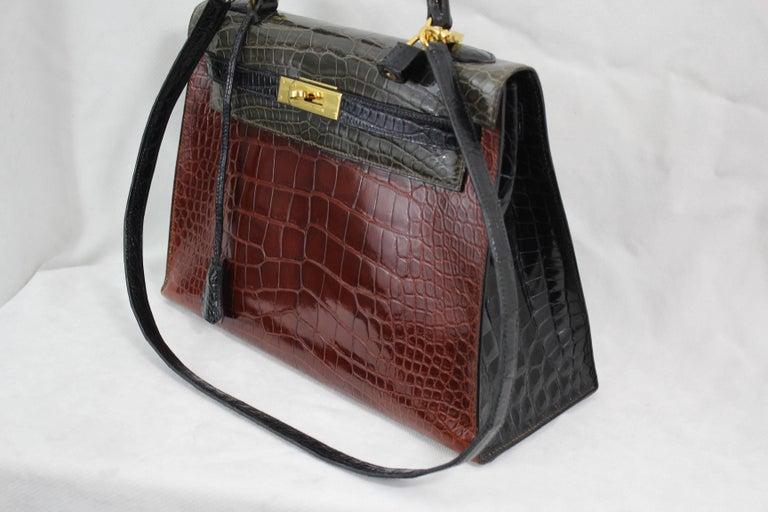 Black   Hermes Tricolor Kelly 32 Alligator Bag, 1992  For Sale