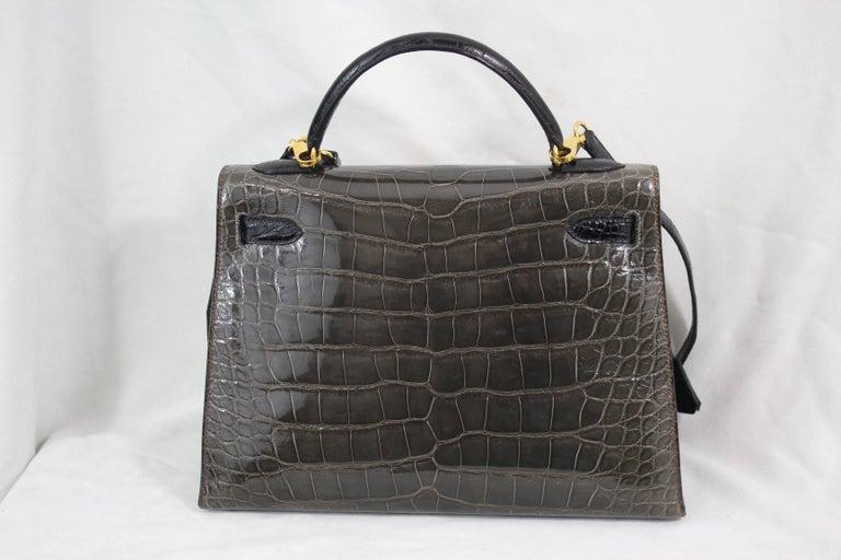 Women's or Men's   Hermes Tricolor Kelly 32 Alligator Bag, 1992  For Sale