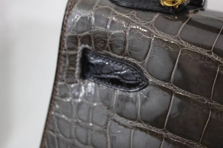 Hermes Tricolor Kelly 32 Alligator Bag, 1992  For Sale 1
