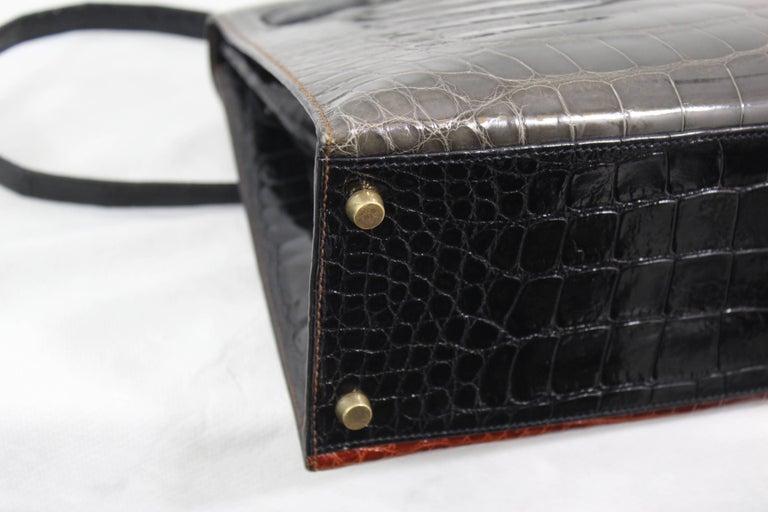 Hermes Tricolor Kelly 32 Alligator Bag, 1992  For Sale 2