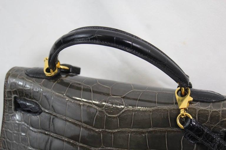 Hermes Tricolor Kelly 32 Alligator Bag, 1992  For Sale 3