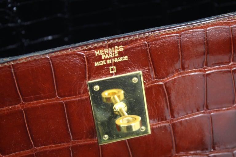 Hermes Tricolor Kelly 32 Alligator Bag, 1992  For Sale 4