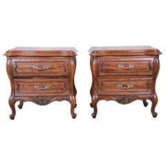 Harden French Provincial Louis XV Walnut Nightstands, Pair