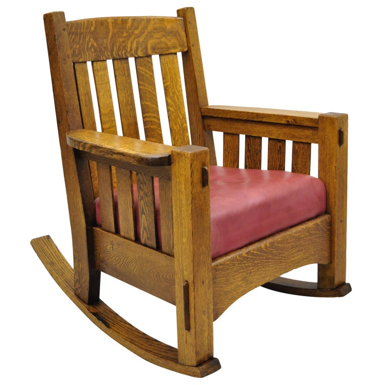 Harden Mission Oak Arts And Crafts Stickley Style Rocking Chair Rocker Armchair At 1stdibs
