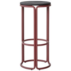 Hardie Bar Stool with Wood Seat and Basque Red Steel Frame