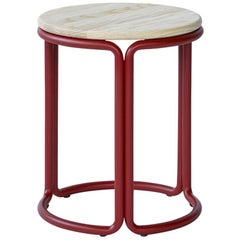 Hardie Low Stool with Wood Seat and Basque Red Steel Frame
