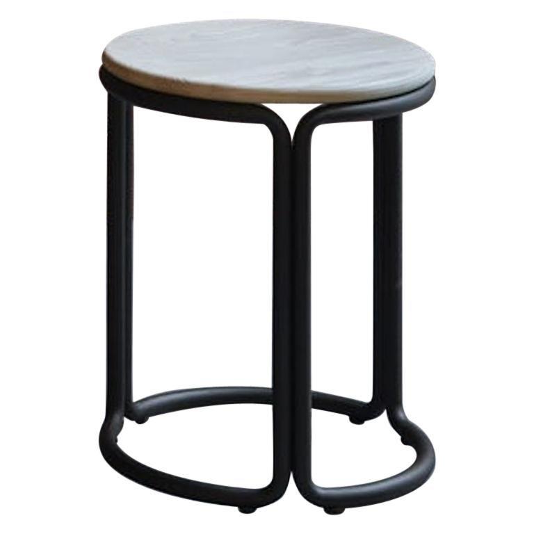 Hardie Low Stool with Wood Seat and Black Steel Frame