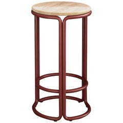 Hardie Wood Counter Stool with Wood Seat and Basque Red Steel Frame
