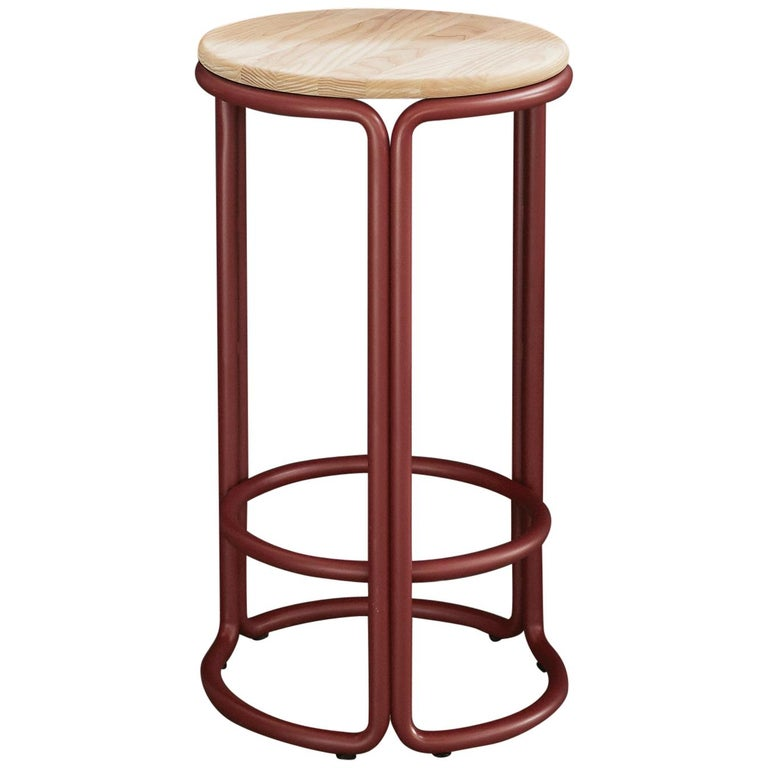 For Sale: Brown (Natural Ash) Hardie Wood Counter Stool with Wood Seat and Basque Red Steel Frame
