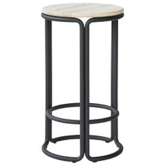 Hardie Wood Counter Stool with Wood Seat and Black Steel Frame