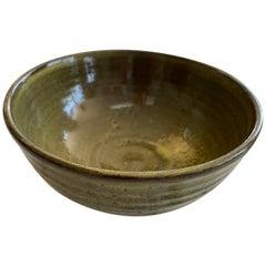 Harding Black 1985 Green Oil Spot Glaze Studio Pottery Bowl