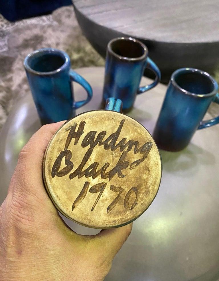 Harding Black Texas Artist Signed Mid-Century Modern Studio Pottery Mugs Cups For Sale 5