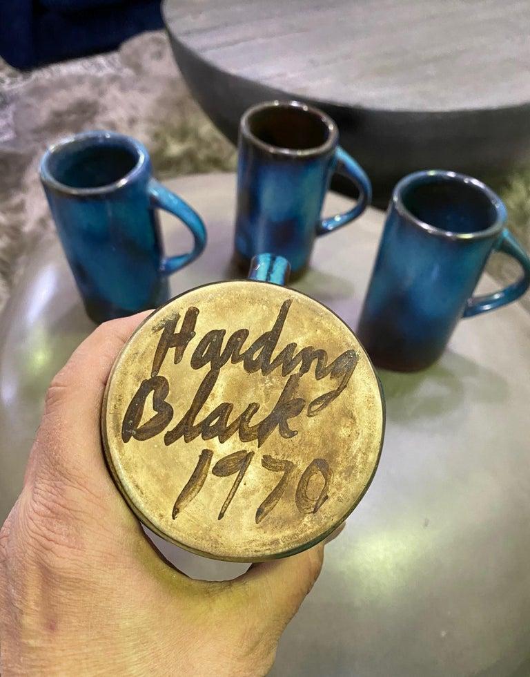 Harding Black Texas Artist Signed Mid-Century Modern Studio Pottery Mugs Cups For Sale 6