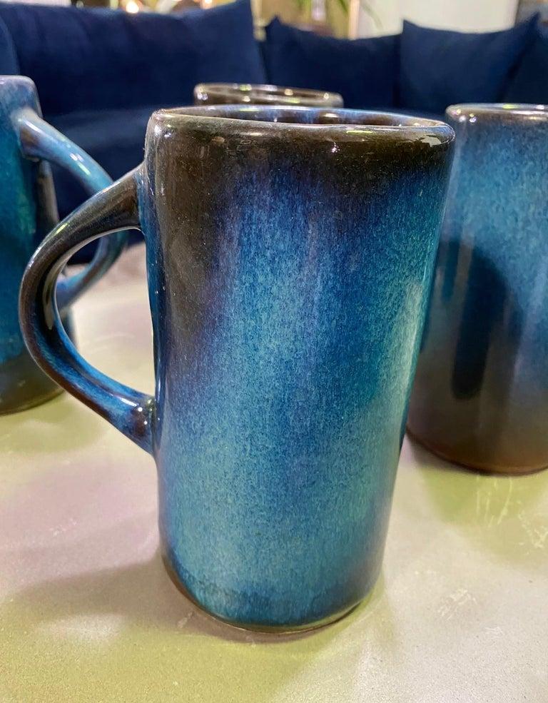 Harding Black Texas Artist Signed Mid-Century Modern Studio Pottery Mugs Cups For Sale 2