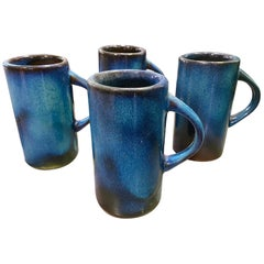 Harding Black Texas Artist Signed Mid-Century Modern Studio Pottery Mugs Cups