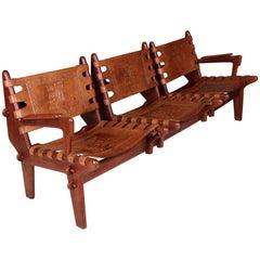 Hardwood and Leather Three-Seat Sofa by Angel Pazmino, circa 1960