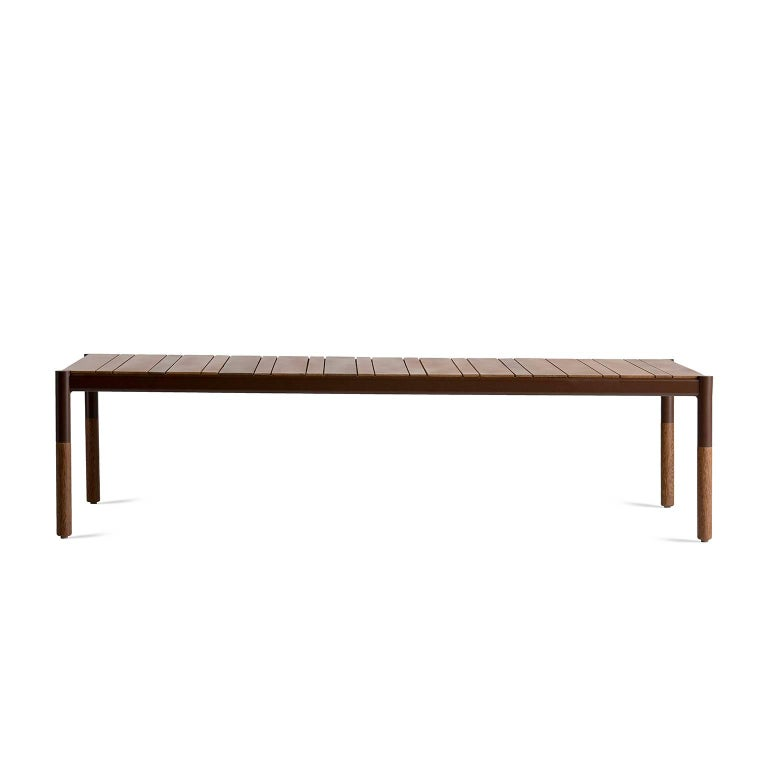 Modern Hardwood and Metal Outdoor Center Table, Minimalist Design For Sale
