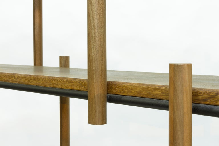 Painted Bookshelf in Hardwood and Steel. Brazilian Contemporary Design by O Formigueiro. For Sale