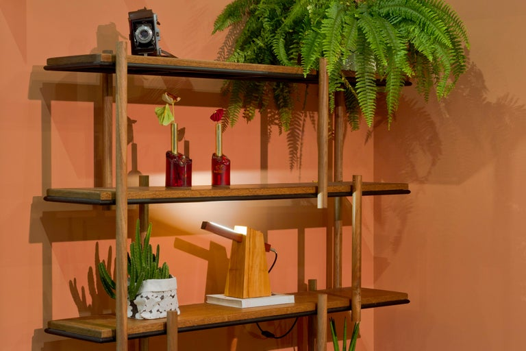 Bookshelf in Hardwood and Steel. Brazilian Contemporary Design by O Formigueiro. For Sale 1