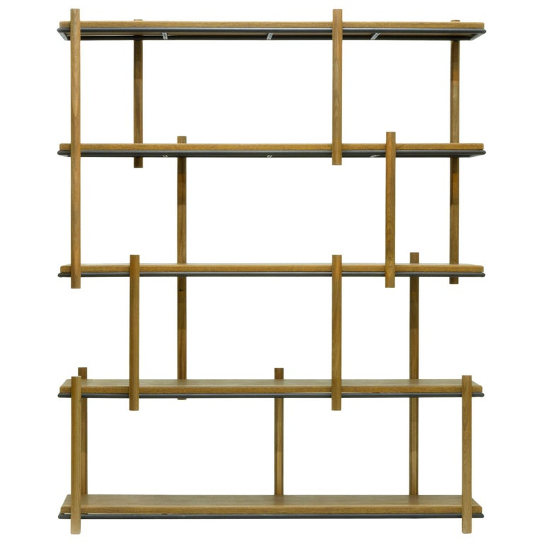 Bookshelf in Hardwood and Steel. Brazilian Contemporary Design by O Formigueiro. For Sale