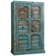 Hardwood Blue Cupboard with Antique Doors, 20th Century