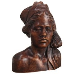 Hardwood Bust of Young Woman in Headdress 1930s Bali or Surabaya Indonesia