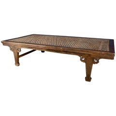 Hardwood Chinese Daybed with Woven Leather Top