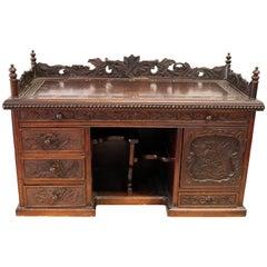 Hardwood Chinese Gothic Dark Carved Wood Chest Cabinet, circa 1800s