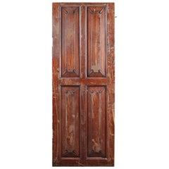 Hardwood Cupboard Door with Carved Panels, 20th Century