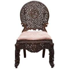 Hardwood Hand Carved Anglo Indian Burmese Chair with Floral Detailing All-Over