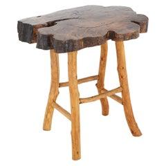 Hardwood Live Edge Slab Side Table in Rugged Adirondeck Style, circa 1960s