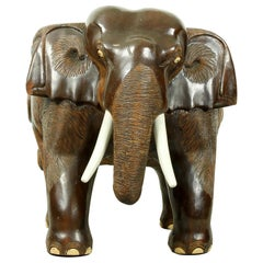 Hardwood Midcentury Carved Elephant Chair