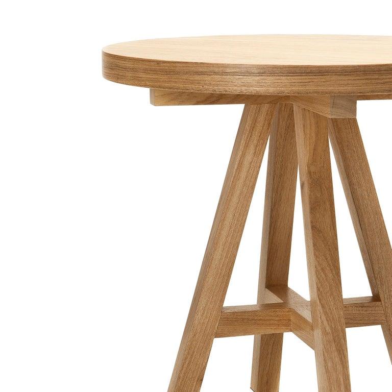 Woodwork Hardwood Side Table, Contemporary Brazilian Design For Sale