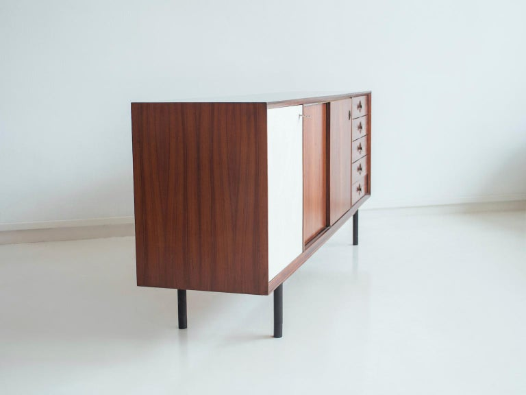 Hardwood Sideboard with Sliding Doors and Drawers, circa 1960 For Sale 3
