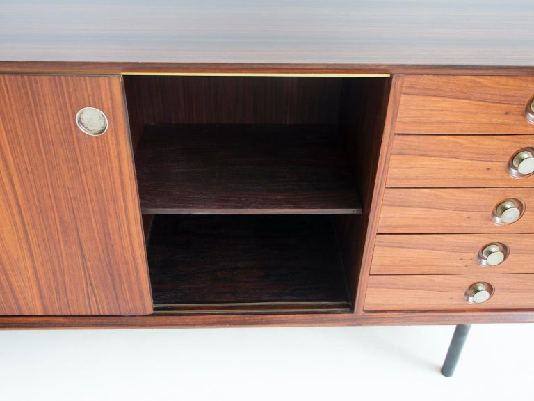 Mid-Century Modern Hardwood Sideboard with Sliding Doors and Drawers, circa 1960 For Sale