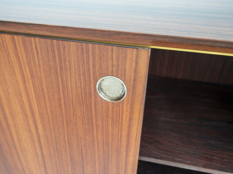 Italian Hardwood Sideboard with Sliding Doors and Drawers, circa 1960 For Sale