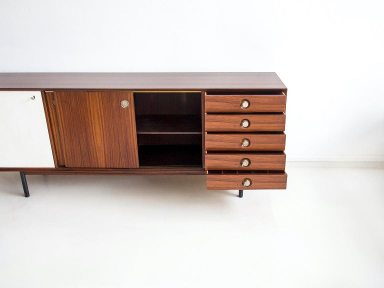 Hardwood Sideboard with Sliding Doors and Drawers, circa 1960 In Good Condition For Sale In Madrid, ES
