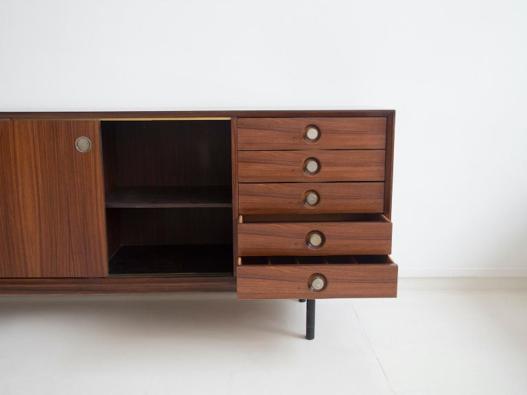 20th Century Hardwood Sideboard with Sliding Doors and Drawers, circa 1960 For Sale