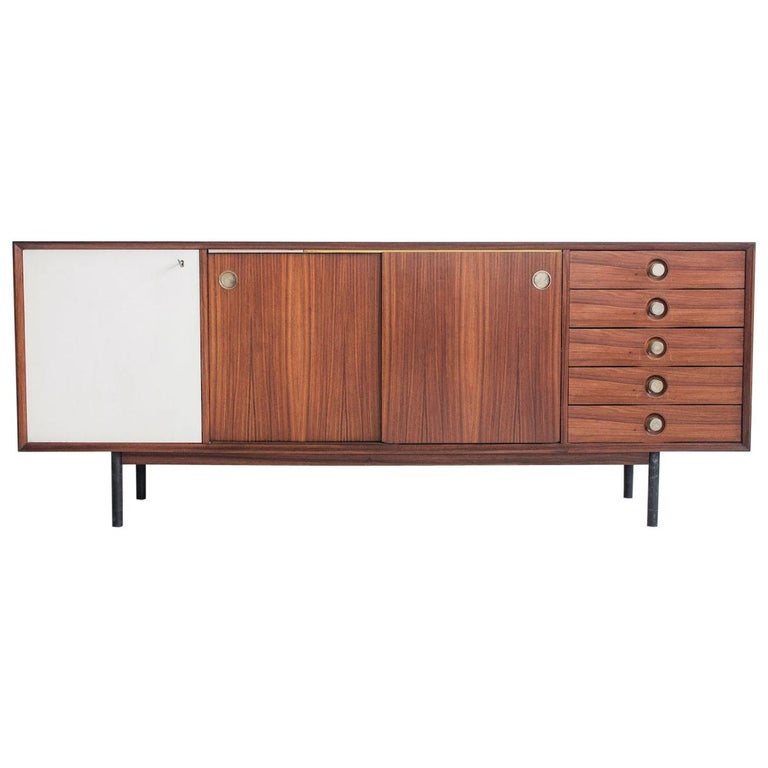 Hardwood Sideboard with Sliding Doors and Drawers, circa 1960 For Sale