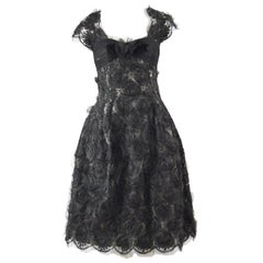 Hardy Amies Couture 1950s Vintage Black Floral Silk Organza & Tulle Party Dress
