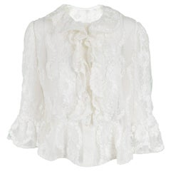 Hardy Amies Couture Vintage White Chantilly Lace Ribbonwork Ruffle Shirt, 1970s