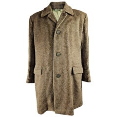 Hardy Amies Mens Cashmere & Wool Vintage Striped Coat
