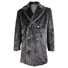 Hardy Amies Mens Vintage Black Faux Fur Coat, 1970s