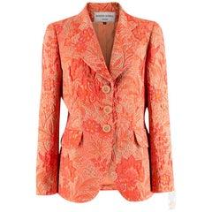 Hardy Amies Orange Floral Print Jacquard Blazer - Size M
